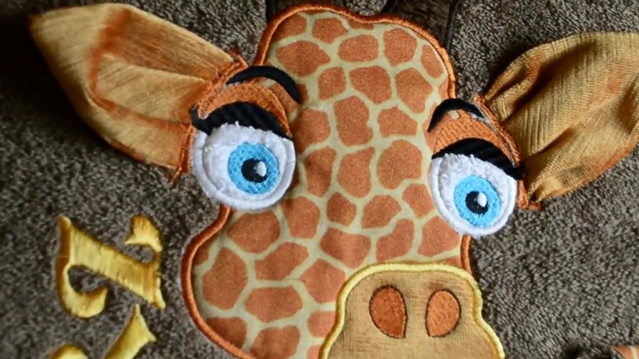 Embroidery report card #6: applique corner giraffe ears design