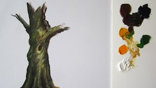 How to paint a tree trunk in acrylics All trees have different bran...