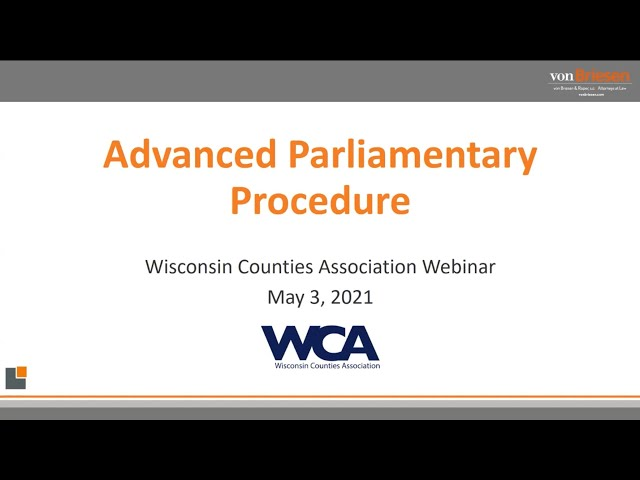 Parliamentary Procedure: the Advanced Session