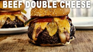 Roast Beef Stuffed Bacon Double Cheese Burger