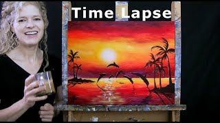 TIME LAPSE - How to Paint SUNSET DOLPHIN DIVE with Acrylic - Paint & Sip - Step by Step Tutorial