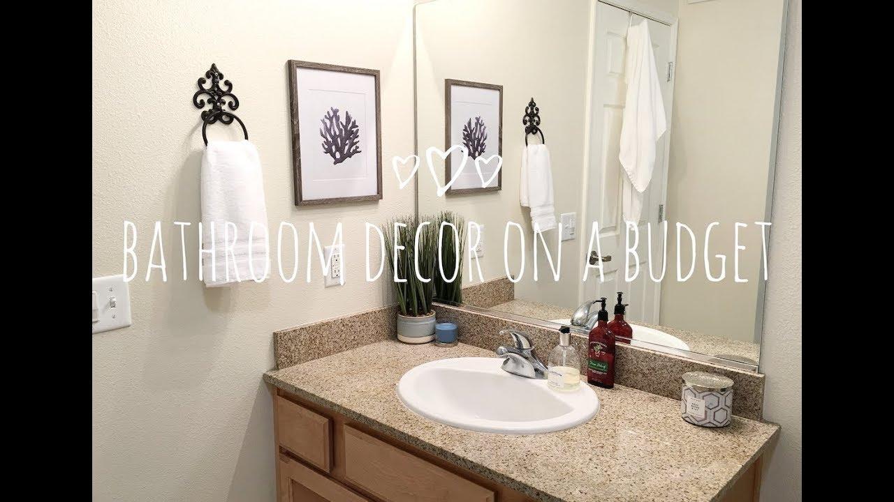 SMALL BATHROOM DECORATING IDEAS | DECOR ON A BUDGET - YouTube on Bathroom Ideas On A Budget  id=61586
