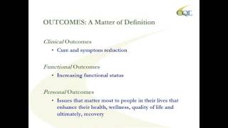 The cql-hosted webinar, personal outcome measures in recovery, is part of a webinar series about behavioral health, presented by cherene allen-caraco, ceo of...