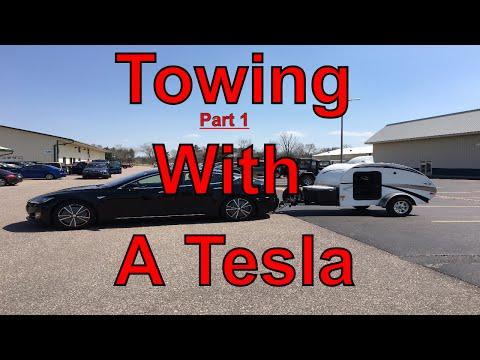 Tesla Motors: Towing With a TESLA Part 1 - Teardrop Camper Power Consumption, Autopilot & Handling