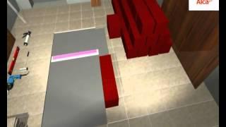 Монтаж линейного трапа видео(Как правильно установить дренажный канал. Видео урок для самостоятельной установки линейного трапа в дома..., 2015-08-21T05:36:15.000Z)