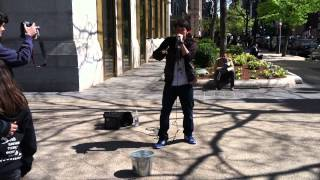 Gene Shinozaki beatboxing on Newbury Street, Boston MA