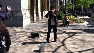 Gene Shinozaki beatboxing on Newbury Street, Boston MA