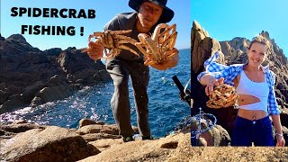 SPIDER CRAB FISHING With My Girlfriend! Fun Day On The Rocks