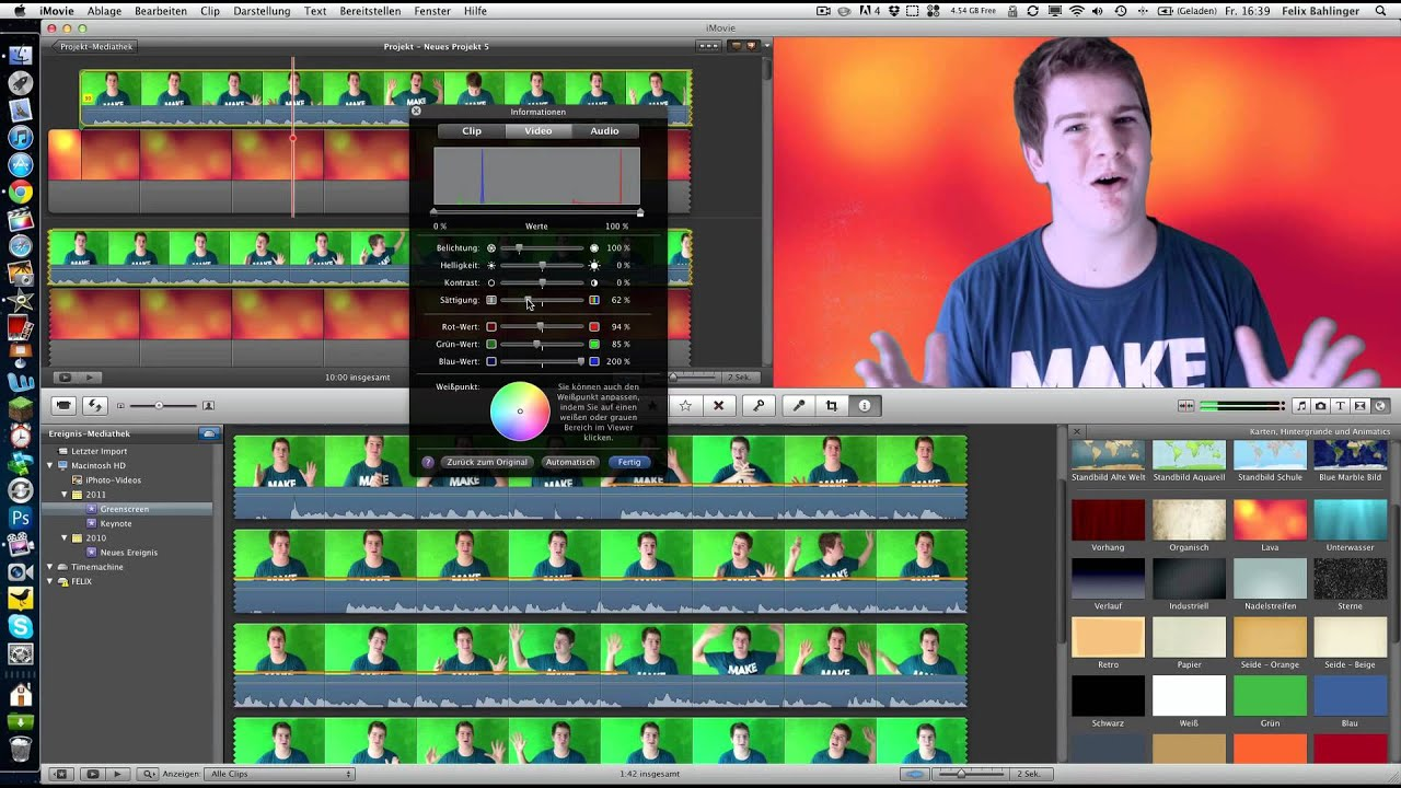 how to put a greenscreen on imovie