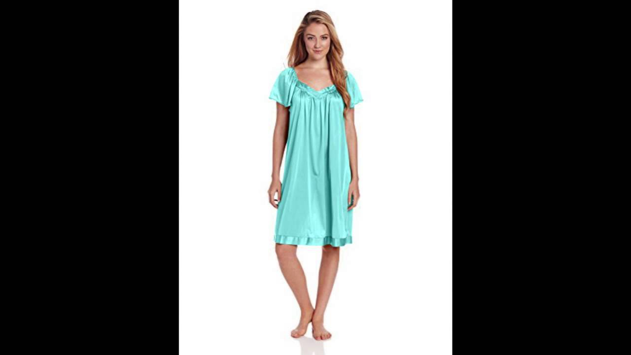 Vanity Fair Women\'s Colortura Sleepwear Short Flutter Sleeve Gown ...
