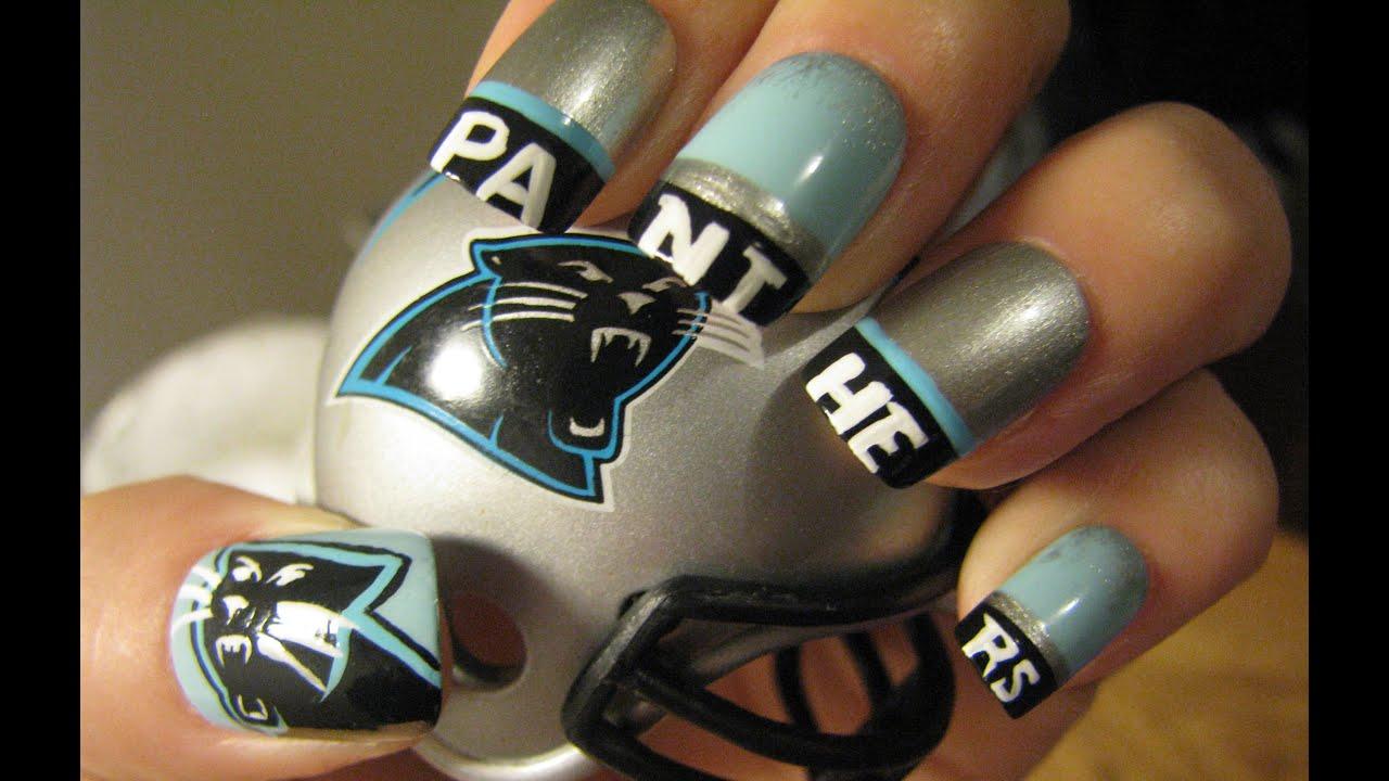 Carolina Panthers Nail Art Tutorial