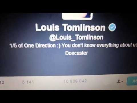 Louis Tomlinson changing his bio on Twitter for a few seconds