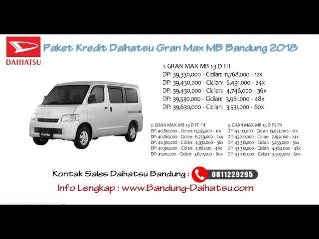 Kredit Daihatsu Gran Max MB Bandung Oktober 2018
