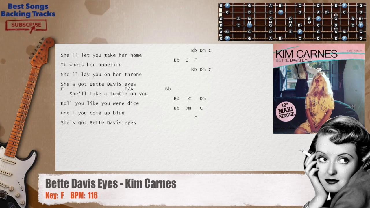 🎸 Bette Davis Eyes   Kim Carnes Guitar Backing Track with chords and lyrics