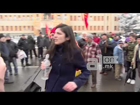 """Инцидент пред Собранието: Девојка истуркана од бината на протестот на """"Македонија блокира"""""""
