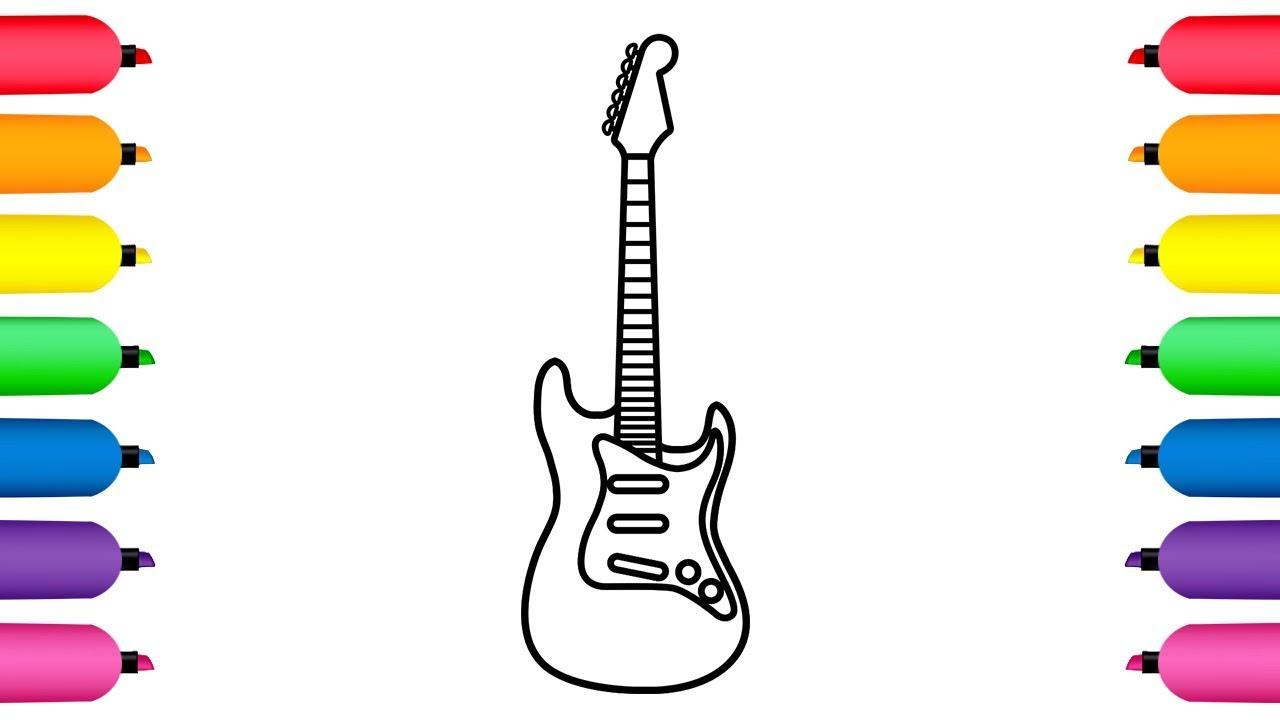 Guitarra Eléctrica Para Colorear Dibujos Animados Para Niños Y Bebés Dibusymas