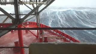 Ship hit by massive waves during Storm Gertrude North Sea.