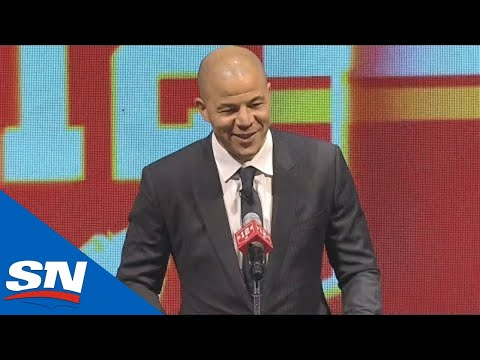 Jarome Iginla's FULL Speech And Banner Raising At Flames Jersey Retirement Ceremony