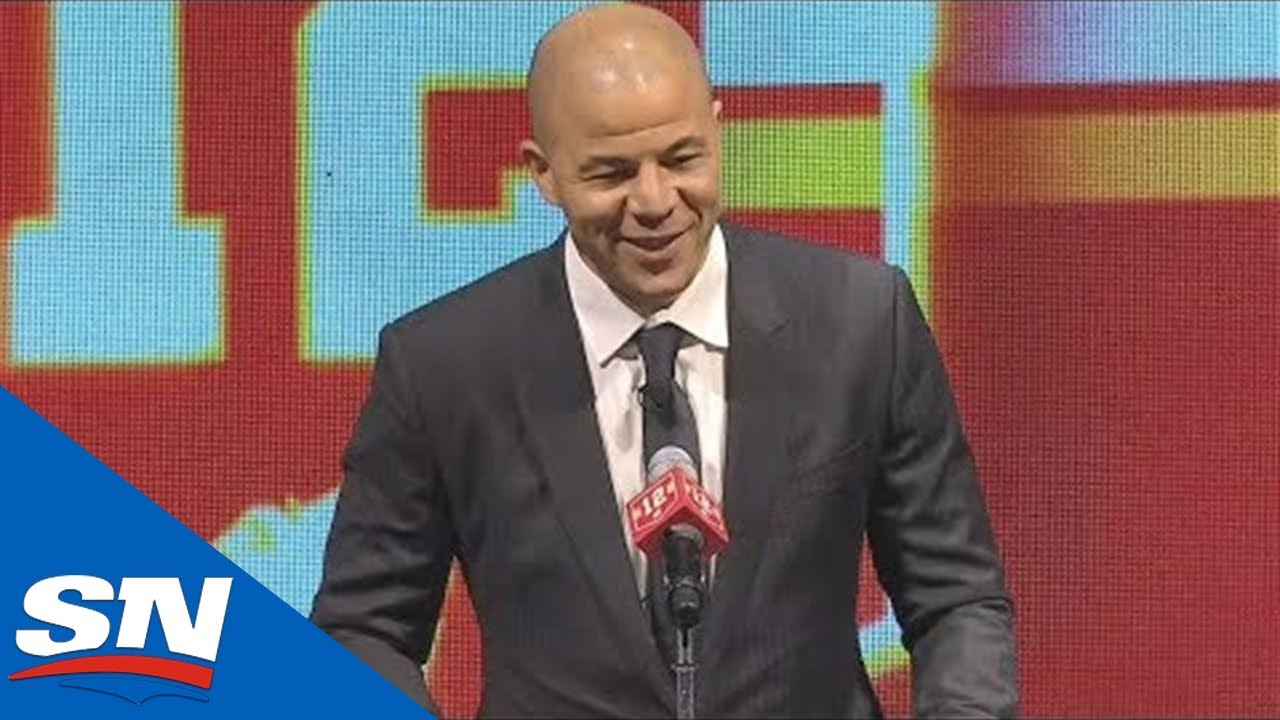 Jarome Iginla's FULL Speech And Banner Raising At Flames Jersey ...