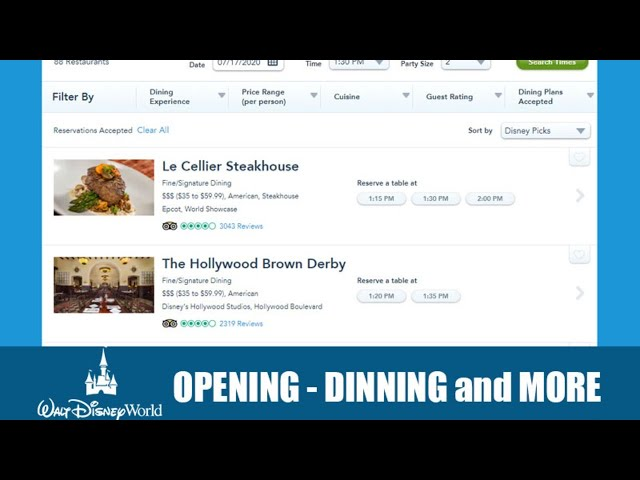 LIVE: Walt Disney World Opening - Dinning Reservations - Passholder Previews and More