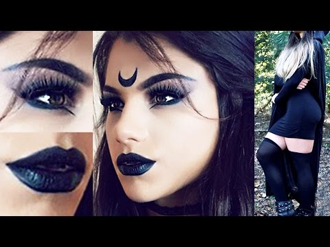 Gothic Witch HALLOWEEN Makeup Tutorial! + Costume Outfit Idea & Hair!