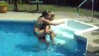 piggy back ride around the pool