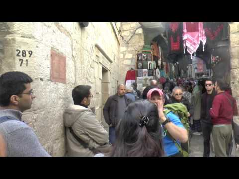 walking the streets in the old city of Jerusalem