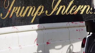 Red paint was splattered across the entrance of trump international golf club in west palm beach on easter sunday. president staying nearby at his ma...