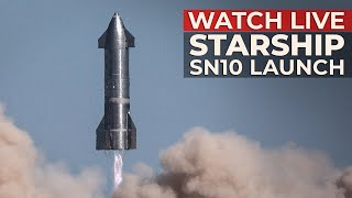 SpaceX's Starship SN10 Flight Test - Launch & Landing in Boca Chica