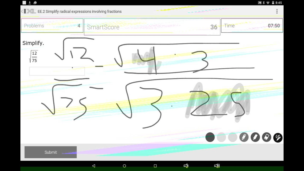 IXL MATH PRACTICE simplify radical fractions - YouTube