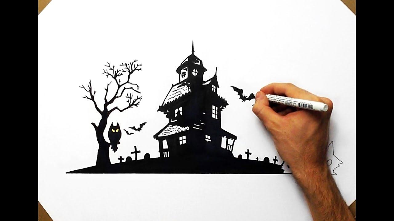 Halloween Spooky House Drawing.How To Draw A Haunted House Halloween