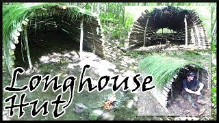 Building a Tiny Longhouse Hut in the Woods