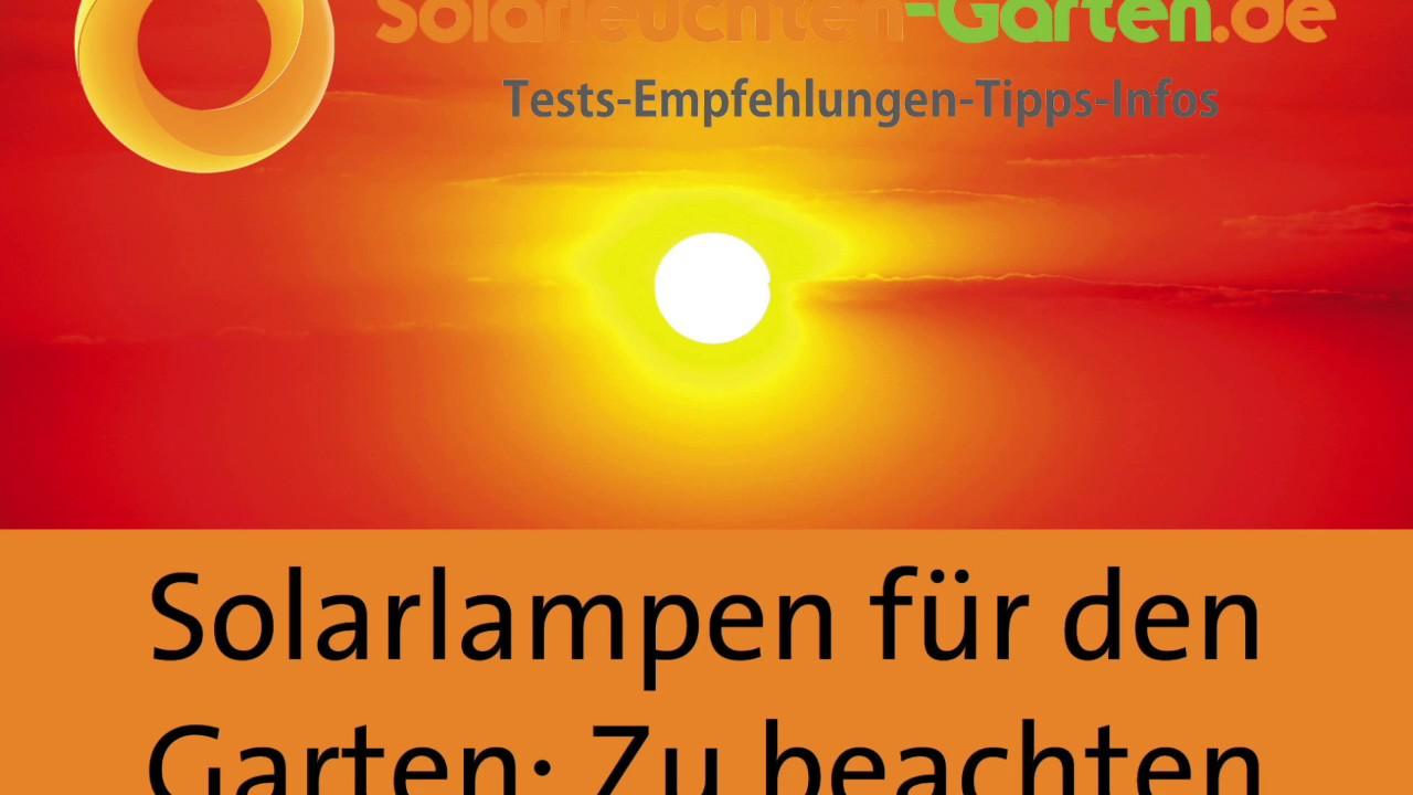 Solarlampen Fur Den Garten Ratgeber Youtube