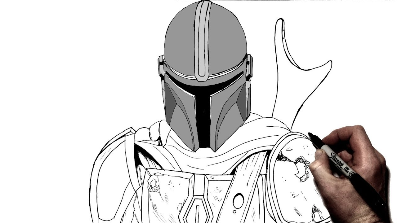 How to Draw The Mandalorian Step By Step Star Wars YouTube