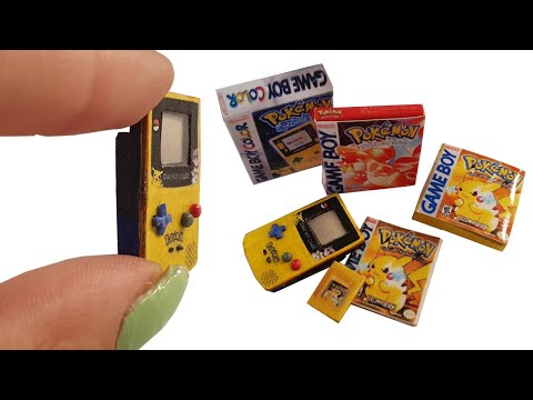 DIY Miniature ✫ Game Boy Color Pikachu + Pokemon Games ✫ Tutorial | Crafts thumbnail