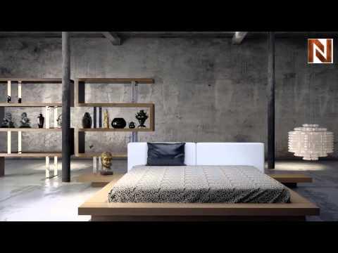 modloft worth bed king walnut white leather - Modloft