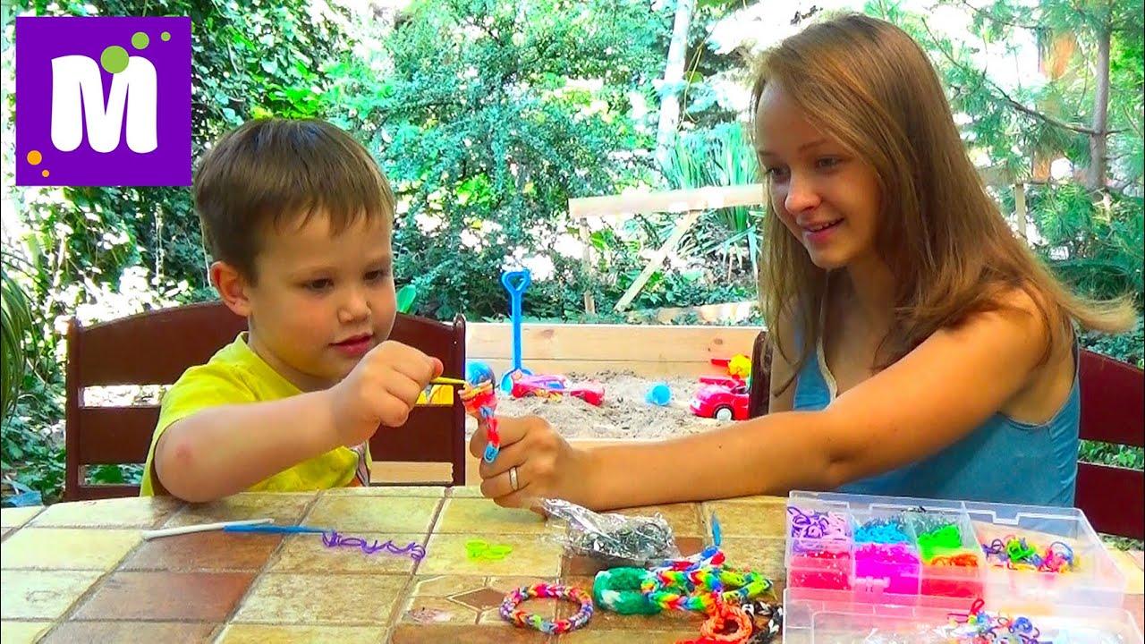 Rainbow loom браслетик плетем с Владой YouTube