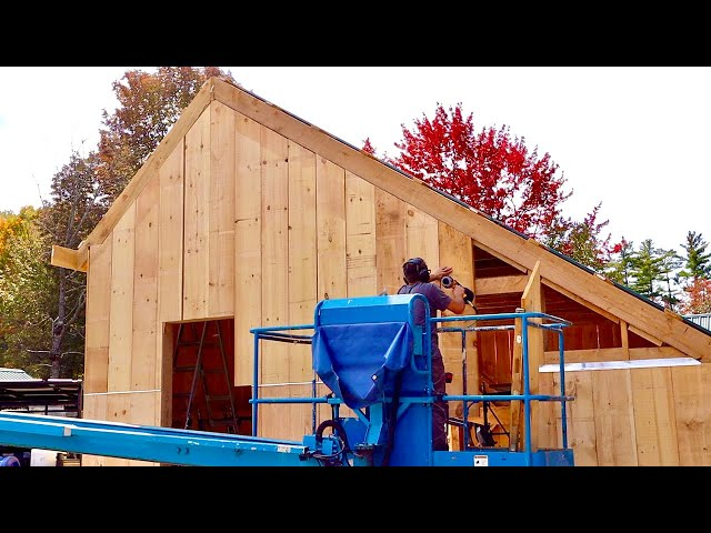 Couple Builds POST & BEAM Dream BARN It's REALLY coming together NOW! Finishing Custom Siding #26