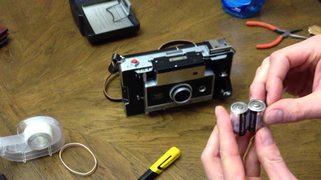 how to polaroid land camera 360 battery conversion youtube rh youtube com Polaroid 250 Land Camera Year Polaroid 250 Land Camera Battery