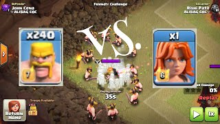 Clash Of Clans - 240 MAX Barbarian VS 1 MAX Valkyrie!!!!