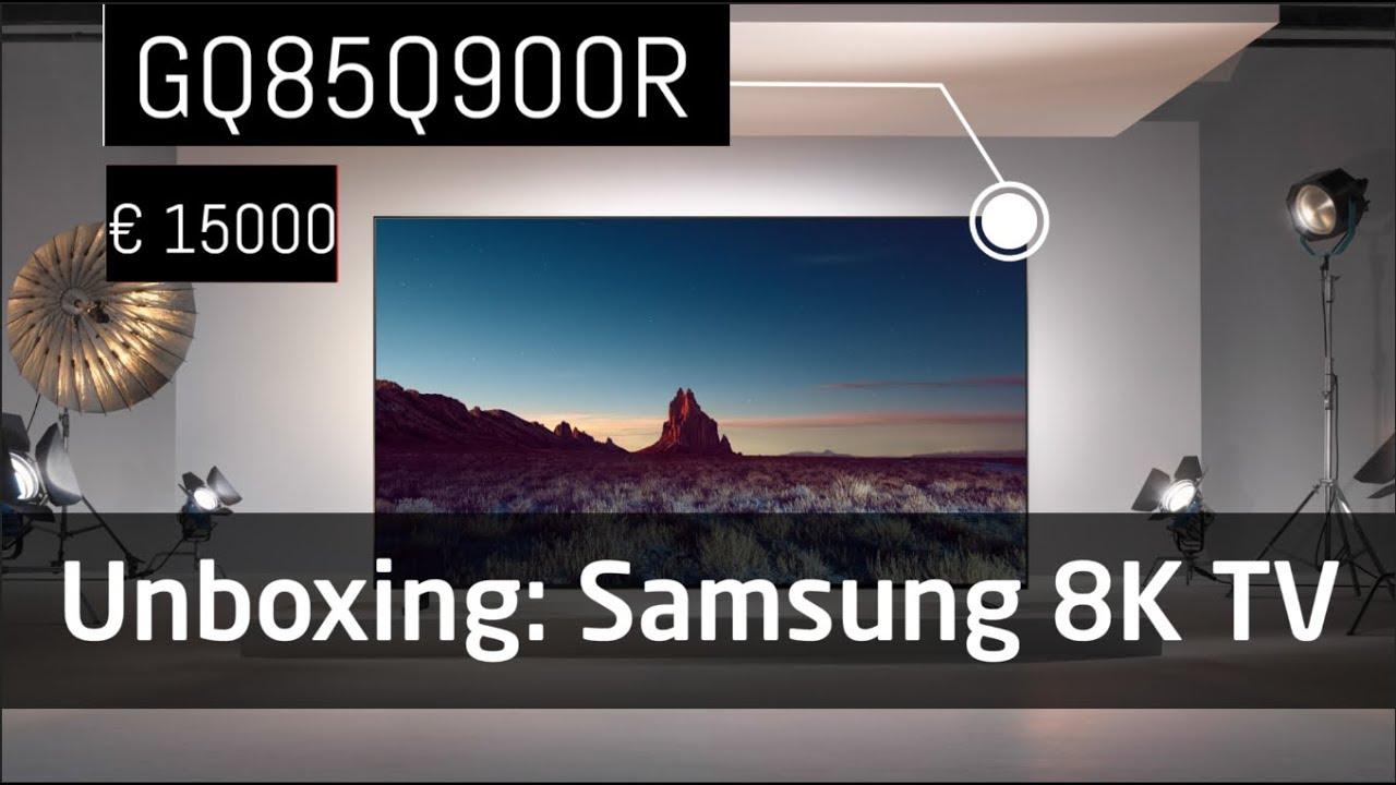 unboxing samsung q900r 85 zoll 8k tv youtube. Black Bedroom Furniture Sets. Home Design Ideas