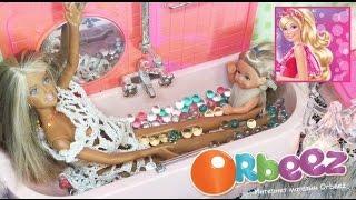 БАРБИ мультик с куклами для девочек Штеффи играет в ванной в шариках ORBEEZ Barbie dolls videos