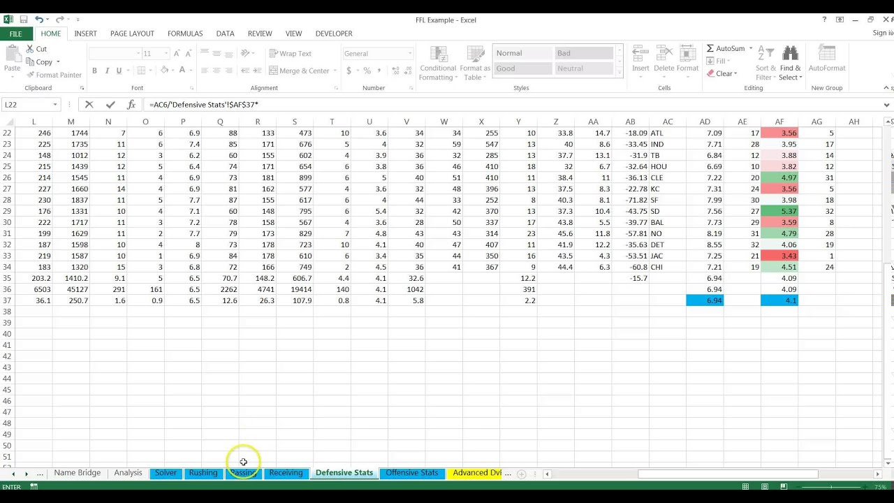 spreadsheets for daily fantasy sports projection model basics