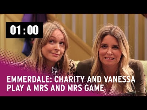 Emmerdale: Charity (Emma Atkins) and Vanessa (Michelle Hardwick) play Mrs and Mrs competition