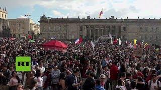 Manifestación en defensa de las universidades públicas en Colombia