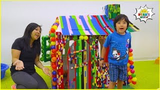 Ryan plays with DIY Playhouse Lego Box Fort