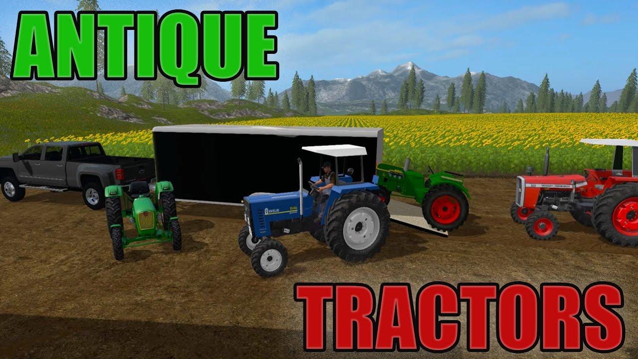 Antique Tractor Trailers : Antique tractors enclosed trailer hauling farming