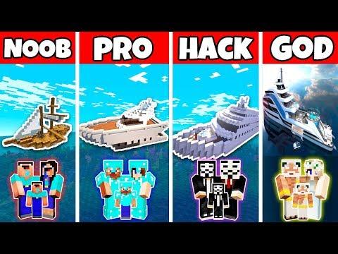 Minecraft: FAMILY LUXURY YACHT HOUSE BUILD CHALLENGE - NOOB Vs PRO Vs HACKER Vs GOD In Minecraft