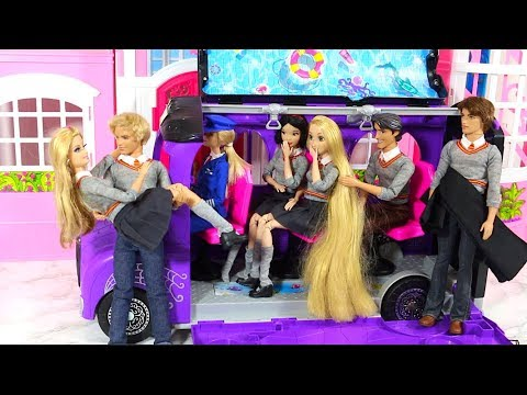 Barbie School Bus Car For Doll & Disney Princesses Barbie Morning Day Routine From USA