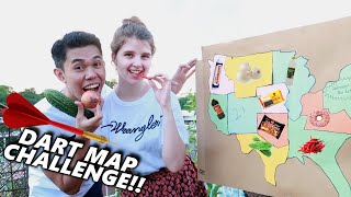 THROWING A DART AT A MAP & EATING WHAT IT LANDS ON!!